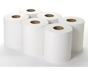 ESP White Embossed Centre Feed Tissue Roll